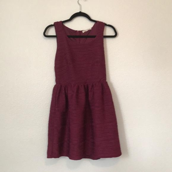 Rewind Dresses & Skirts - Red Burgundy fit and flare jewel neckline dress